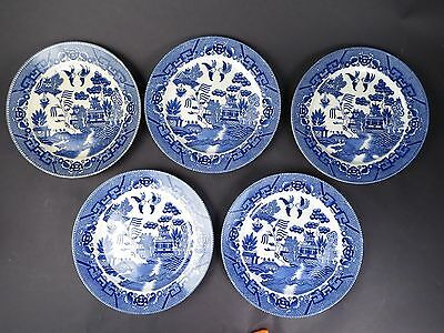 Antique  5 Old Flow Blue Bird Asian Japanese Decorated Plate