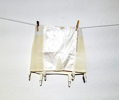 DEADSTOCK Vintage 1950s 1960s Ivory Satin embroidered girdle with garters pinup