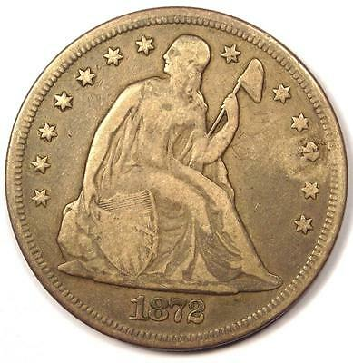 1872 Seated Liberty Silver Dollar $1 - VF Details - Rare Early Type Coin!