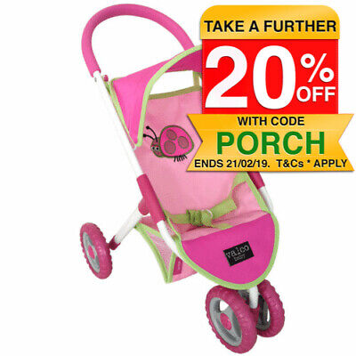 Valco 56cm Baby Like Mum Doll Pram/Mini Stroller Toy/Kids/Children/Ladybug/Pink