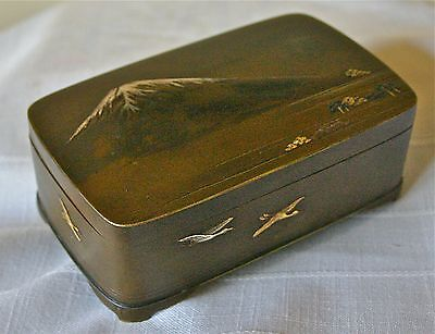 Japanese Meiji Bronze and Mixed Metal Box Mt Fuji and Birds.