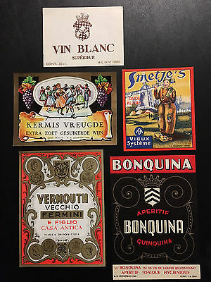 Vintage Lot  of 15 European Wine Labels – New Old Stock LOT # 1