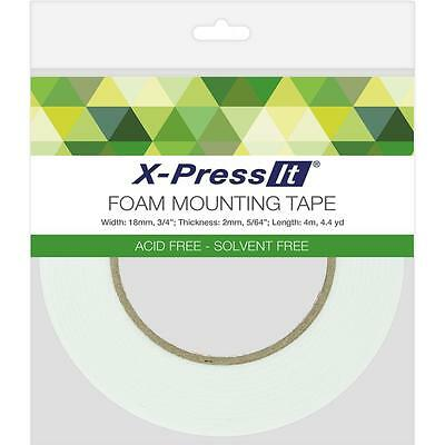 "X-Press It Foam Mounting Tape 18mm x 2mm x 4m (3/4""x4.4yd) double-sided adhesive"