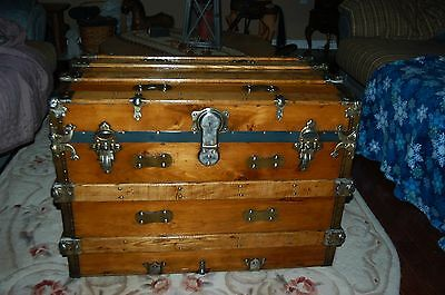 Refinished antique Victorian era Trunk with Tray and Key