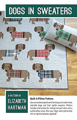 Dogs in Sweaters by Elizabeth Hartman Quilt Pattern ~ Pieced Dachshunds