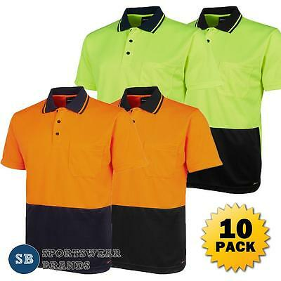 Lower Price with 50 X Dnc Workwear Mens Hi Vis Cool Stripe Polo Shirt Tradie Labourer Safety 3755 Polos