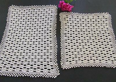 Two Vintage Finely Hand Crocheted Matching Ecru Centre Doilies
