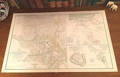 Original Antique Civil War Map DEFENSES of WASHINGTON DC Alexandria VA Virginia
