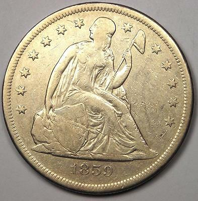 1859-O Seated Liberty Silver Dollar $1 - XF Details - Rare Early Type Coin!
