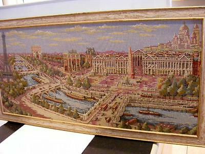 """19c PARIS FRANCE French TAPESTRY River Seine Eiffel Tower Wall Picture 40"""" Bench"""