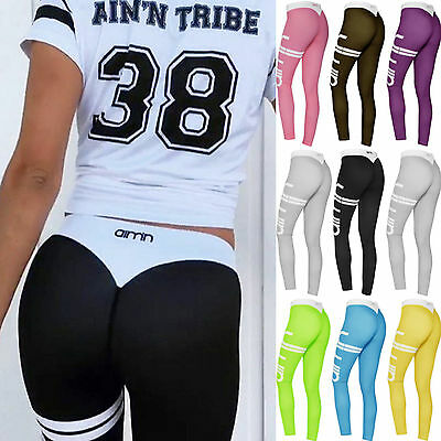 Womens Sports Gym Yoga Workout High Waist Running Pants Elastic Fitness Leggings