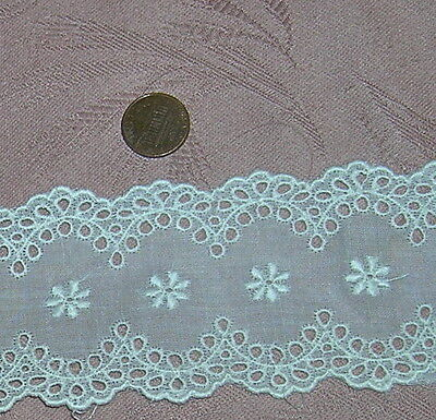 """VINTAGE EMBROIDERED ORGANDY EYELET LACE TRIM SCALLOPED 50s 1YD 21"""" BY 2.5"""" DOLLS"""