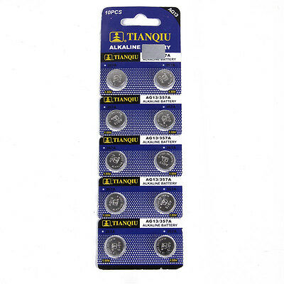 10PCS Button Coin Cell Pack Alkaline Batteries AG13 LR44 SR44 L1154 357 A76