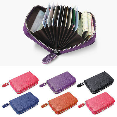 Mini Genuine Real Leather Credit ID Business Card Holder Pocket Wallet Zip Purse