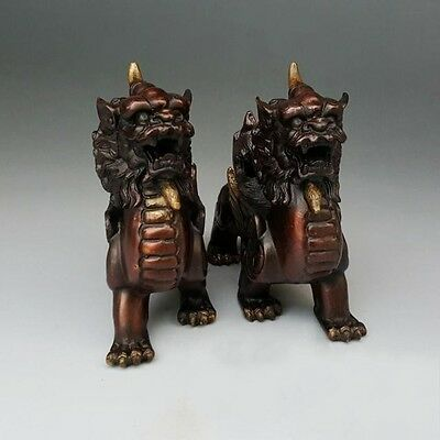 Folk FengShui Copper Dragon Unicorn Beast PiXiu Brave Troops Statue Pair