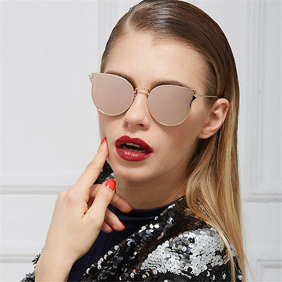 Retro Vintage Women's Gold Cat Eye Sunglasses Classic Oversized Shades Fashion