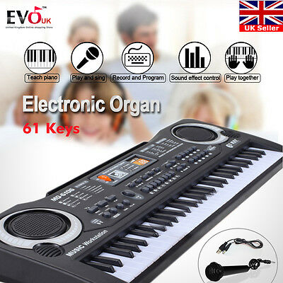 61 Key Digital Music Electronic Keyboard Electric Piano Set Organ w/Microphone