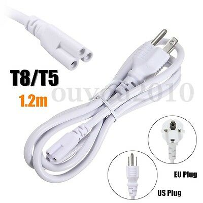 1.2M US/EU Plug 3 Prong AC Power Cord Cable For T8/T5 Integrated LED Tube Light