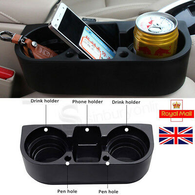 Auto Car Dual Cup Holder Van Storage Drink Bottle Can Mug Mount Stand Black UK