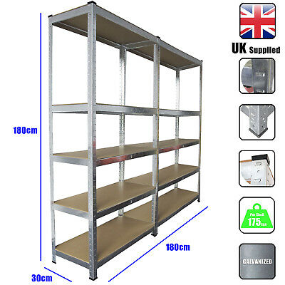 2 Pack Racking Bays 5 Tier Boltless Garage Shelving Unit Storage Rack Heavy Duty