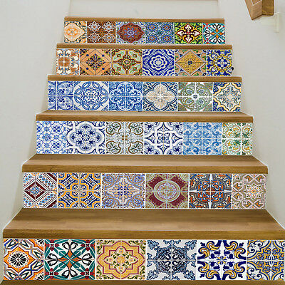 6PCS 100*18CM  Moroccan Tile Sticker Kitchen Bathroom Stairs Mural Decal