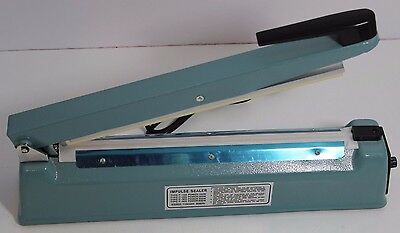 "12"" Impulse Heat Poly Bag Sealer Plastic Closer Machine Teflon Sealing ~ TESTED"