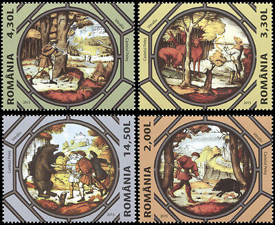Romania. 2015. Hunting on Royal Domains - Peleș Castle's stained glass (MNH OG)