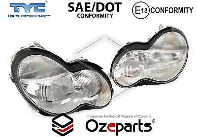 Set Pair LH+RH Head Light Lamp For Mercedes Benz C Class W203 Sedan Wagon 00~04