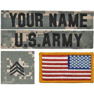Custom 4 Piece Name Tape Set w/ Hook Fastener Backing - ACU