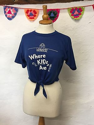 Reworked Vintage Crop Top Cropped T-Shirt Blue White Tie-Front (Ct40) Size 8 10