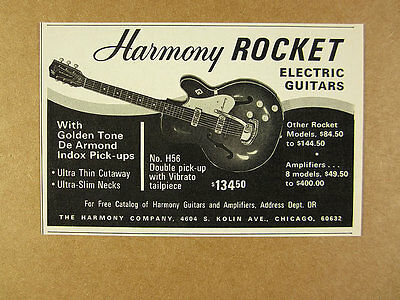 1966 Harmony Rocket H56 Electric Guitar vintage print Ad