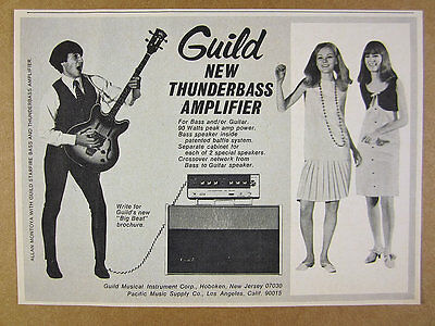 1966 Guild Starfire Bass Guitar & Thunderbass Amp Amplifier vintage print Ad