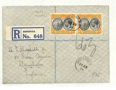 AB176 1924 Dominica GB Manchester Cover {samwells-covers}PTS