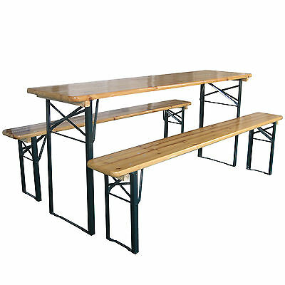 Outdoor Wooden Folding Beer Table Bench Garden Furniture Set Steel Trestle Legs