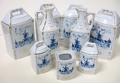ANTIQUE! German Blue&White 14 Piece Windmill CANISTER SET