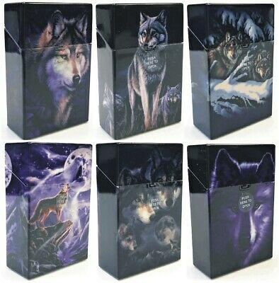 Eclipse Wolf Design Hard Plastic Crushproof Cigarette Case, 4ct, Kings 3116D17-2