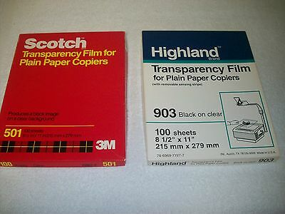 Sheets Overhead Transparency Film Paper overhead projector Highland 903, 3M 501