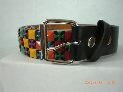 Ladies Black Leather Belt Decorated with Mulit-colored Metal Insets
