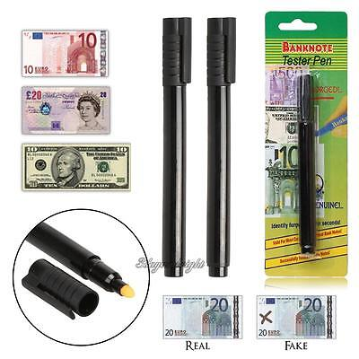 2x Money Currency Checker Counterfeit Detector Marker Fake Banknotes Tester Pen