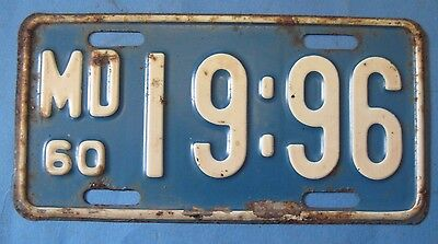 1960 Maryland motorcycle license plate