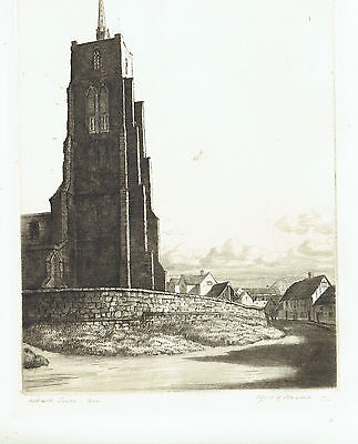 Aswell Tower Hertfordshire Pencil Signed & numbered etching. Alfred R. Blundell