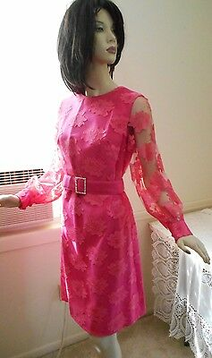 50s 60s CAROL CRAIG LS Lace Dress & Sleeveless Jacket Set JACKIE O Style S M