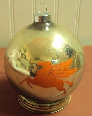 1940's Mobil Gas Station Christmas Ornament, Double-Sided Pegasus On Orn