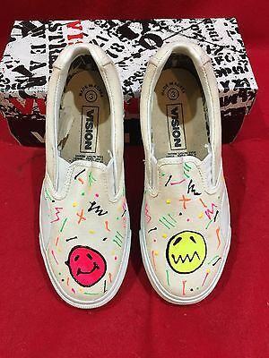 Nos Vintage Vision Street Wear White Canvas W/ Design Kids Shoes (Various Sizes)