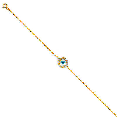 "14K Solid Real Yellow Gold Mal De Ojo Evil Eye Diamond Bracelet  7 +1"" Powerful"