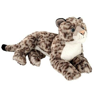 "Wild Republic Cuddlekins Large 16"" Laying Snow Leopard Plush Soft Toy Cuddy12920"