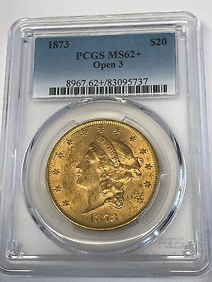 1873 $20 Gold Liberty Head Double Eagle PCGS MS 62+ OPEN 3