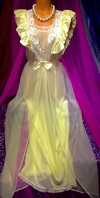 Vintage Peignoir Nylon Gown Sheer Chiffon Victorian Lace Satin Puff Robe XS S