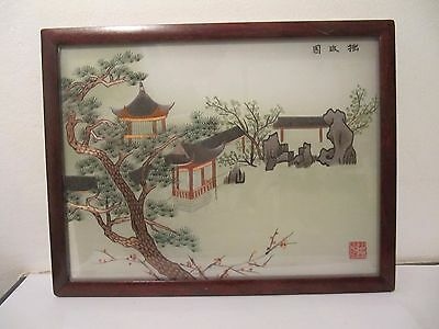 Chinese Oriental Silk Picture Embroidered Needle Work Pagoda Signed