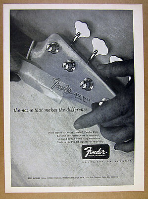 1966 Fender Jazz Bass Guitar headstock photo vintage print Ad